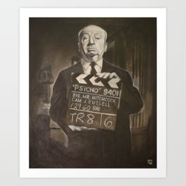 Alfred Hitchcock in Charcoal Art Print