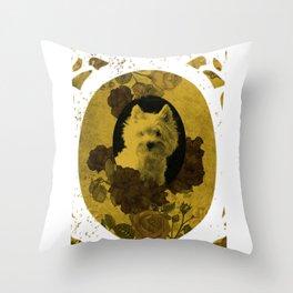 Westie & Roses Vintage Golden Round Frame Throw Pillow
