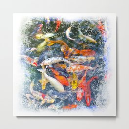 Koi Carp Splash Metal Print