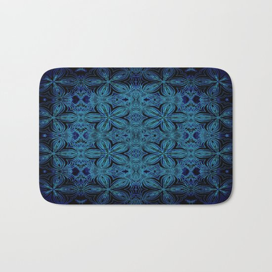 Turquoise Teal Delicate Flowers Bath Mat
