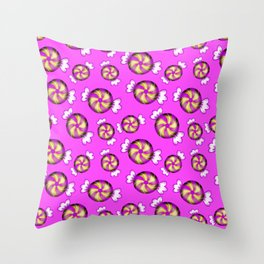 Cute lovely sweet decorative Christmas caramel chocolate candy in shiny wrappers pattern Throw Pillow