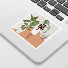 Plant lady and her cat Sticker