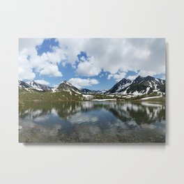 Panorama mountain landscape lake, mountains and clouds in blue sky on sunny day Metal Print