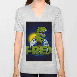T Rex Dinosaur in the planet Unisex V-Neck