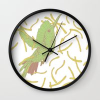 french fries Wall Clocks featuring Bird eat French fries by pexkung