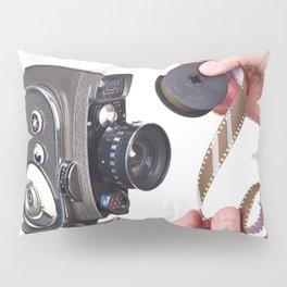 Retro mechanical hobbies movie camera and film in hands Pillow Sham