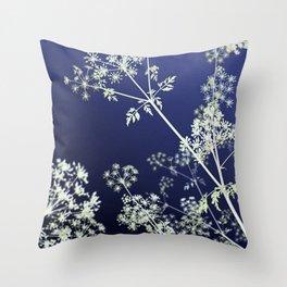 Dark Indigo Blue Wild Flowers Floral Abstract Throw Pillow