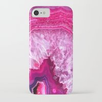 agate iPhone & iPod Cases featuring pink agate by haroulita