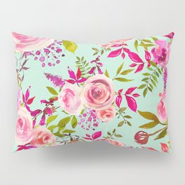 Watercolor pink violet lucite green modern floral Pillow Sham