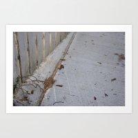 White sidewalk Art Print