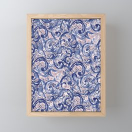 Vinage Lace Watercolor Blue Blush Framed Mini Art Print