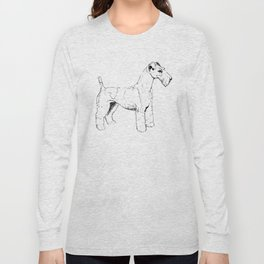 Wire Haired Fox Terrier Ink Drawing Long Sleeve T-shirt