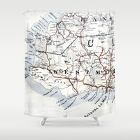 jamaica Shower Curtains featuring Map Section: Jamaica by Shaunia McKenzie