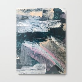3 AM: a minimal, abstract piece in blue, pinks, and white by Alyssa Hamilton Art Metal Print