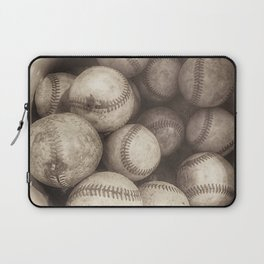Bucket of Old Baseballs in Sepia Laptop Sleeve