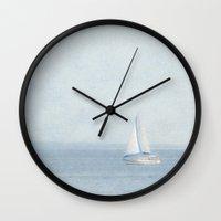 sailboat Wall Clocks featuring Sailboat  by Pure Nature Photos
