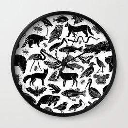 Linocut animals nature inspired printmaking black and white pattern nursery kids decor Wall Clock