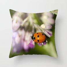 Ladybird in Spring Throw Pillow