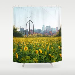 Minneapolis Minnesota Skyline and Sunflowers-Mpls Shower Curtain