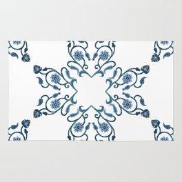 Blue Floral Heart Tile Rug