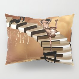 Cute little girl dancing on a piano Pillow Sham