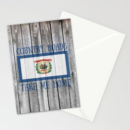 West Virginia State Flag Country Roads Barn Wall Rustic Print Stationery Cards