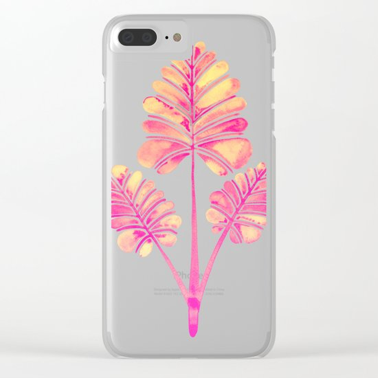 Tropical Palm Leaf Trifecta – Pink Palette Clear iPhone Case