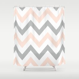 PEACH & GRAY CHEVRON Shower Curtain