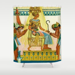 Vintage 1933 Belgian Egyptian Motif Isis Osiris Liebig's Beef Extract Lithograph Advertisement Poste Shower Curtain
