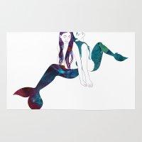 mermaids Area & Throw Rugs featuring Two Mermaids by Stevyn Llewellyn