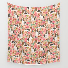 Basset Hound florals cute pink pastel gender neutral dog owner breed must have gifts dog art pets Wall Tapestry