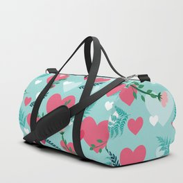 Valentine's blue pattern Duffle Bag