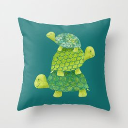 Turtle Stack Family in Teal and Lime Green Throw Pillow