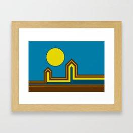 Line Houses with Yellow Sun Framed Art Print