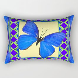 Decorative Sapphire Blue Butterflies Abstract & Yellow Rectangular Pillow