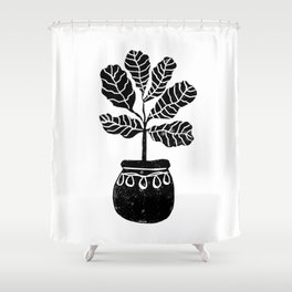 Fiddle Leaf Fig tree linocut black and white minimal modern lino carving monochromatic trendy art Shower Curtain