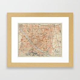 Vintage Map of Florence Italy (1895) Framed Art Print