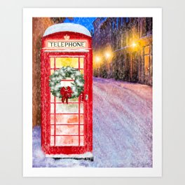 British Christmas In The Snow - Classic Red Telephone Box Art Print