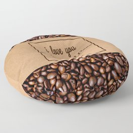 """""""I Love You a Whole Latte"""" Coffee Sleeve & Beans Floor Pillow"""