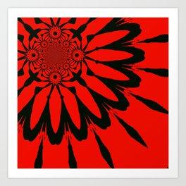 The Modern Flower Red & Black Art Print