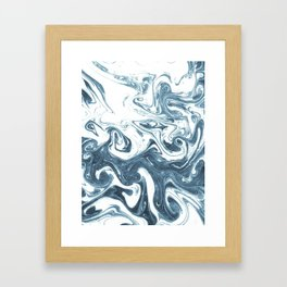 Marble swirl suminagashi minimal ocean waves watercolor ink marbled japanese art Framed Art Print