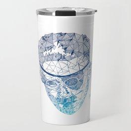 James Joyce - Hand-drawn Geometric Art Print - Blue Gradient Travel Mug