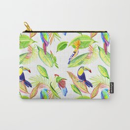 tropical pattern with parrots and toucan Carry-All Pouch