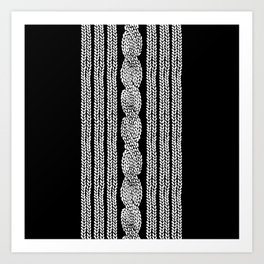 Cable Stripe Black Art Print