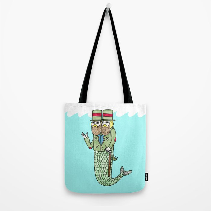 Portrait of a two headed merman Tote Bag