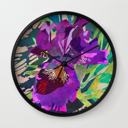 Watercolor Iris Flower with Shadows - Bright Purple & Pink Wall Clock