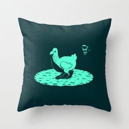 Oblivious Chicken (with wolf / dark green background) Throw Pillow