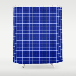 Indigo dye - blue color - White Lines Grid Pattern Shower Curtain