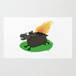 Flaming Sheep (Black) Rug