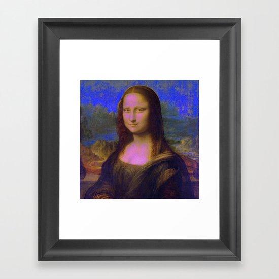Mona Lisa's Haze (blue) Framed Art Print